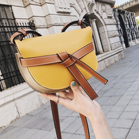 Summer Women 2018 New Tide Color Shoulder Bag Korean Version Of Joker Slung Simple Fashion Saddle Bag