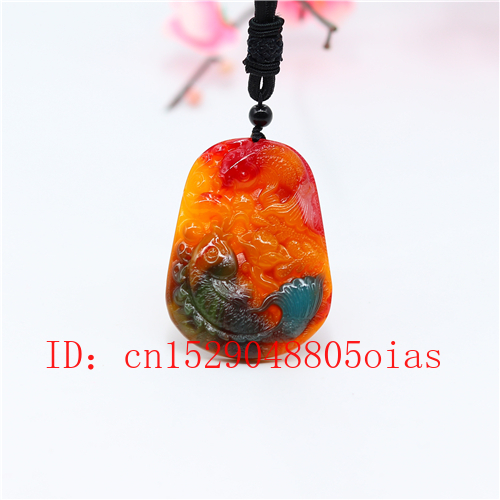 Natural Color Hetian Jade Stone Carp Pendant Necklace Chinese Jadeite Jewelry Charm Reiki Amulet Carved Gifts for Women Men