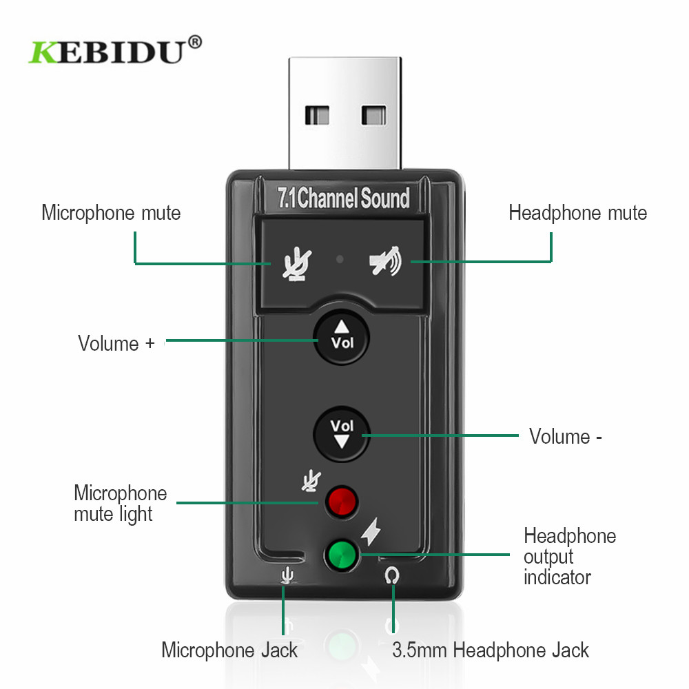 KEBIDU 7.1 External USB Sound Card USB to Jack 3.5mm Headphone Audio Adapter Micphone Sound Card For Mac Win Compter Android|Sound Cards| - AliExpress