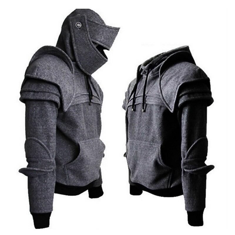 SHUJIN Men Retro Drawstring Knight Hoodies With Mask Protecting Elbow Knight Sweatshirt Winter Windproof Warm Keeping Hoodie Men