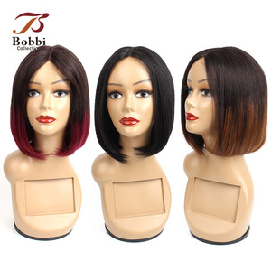 Image 1 - Bobbi Collection Straight Human Hair Wigs I Type Lace Part Wig Cheap Middle Part Full Wigs Short Bob Style Brazilian Remy Hair