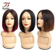 Bobbi coleção em linha reta perucas de cabelo humano eu tipo parte do laço peruca barato parte do meio perucas completas bob curto estilo brasileiro remy cabelo