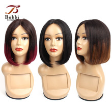 Bobbi kolekcja proste włosy ludzkie peruki I typ koronkowa część peruka tanie środkowa część pełne peruki krótki Bob styl brazylijski Remy włosy