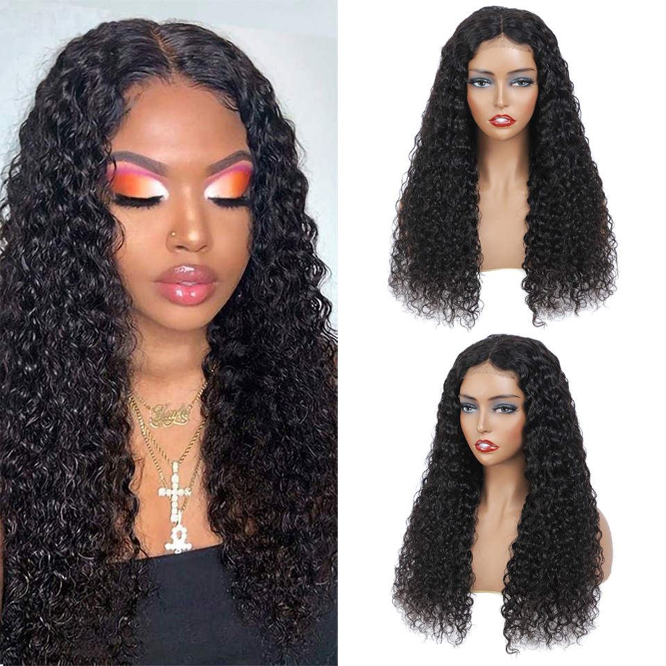 Real Women Water Wave Wig Lace Closure  Wigs Pre Plucked 30inch 4X4 Lace Closure Wig 180% Density  Wig 1