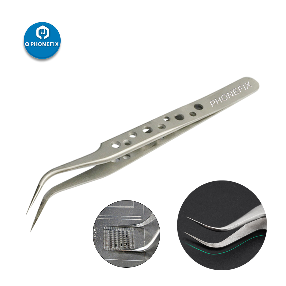 PHONEFIX Stainless Steel Precision Straight Curved Tweezers Electronic ESD Tweezers Tool For Mobile Phone Motherboard Repair