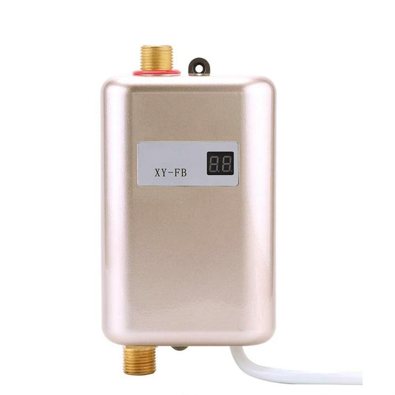 3800W Mini Electric Water Heater Instant Electric Water Heater Instant Electric Water Heating Shower 3 Seconds Hot EU Plug Gold