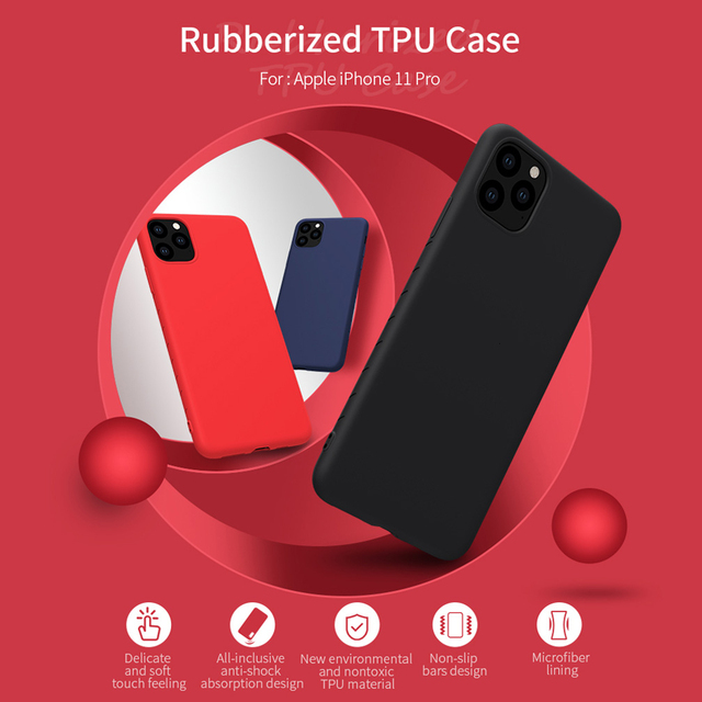 For iPhone 11 Pro Max case NILLKIN Slim Soft Liquid Silicone Rubber Shockproof Case For iPhone 11 Pro 5.8/6.1/6.5 inch cover