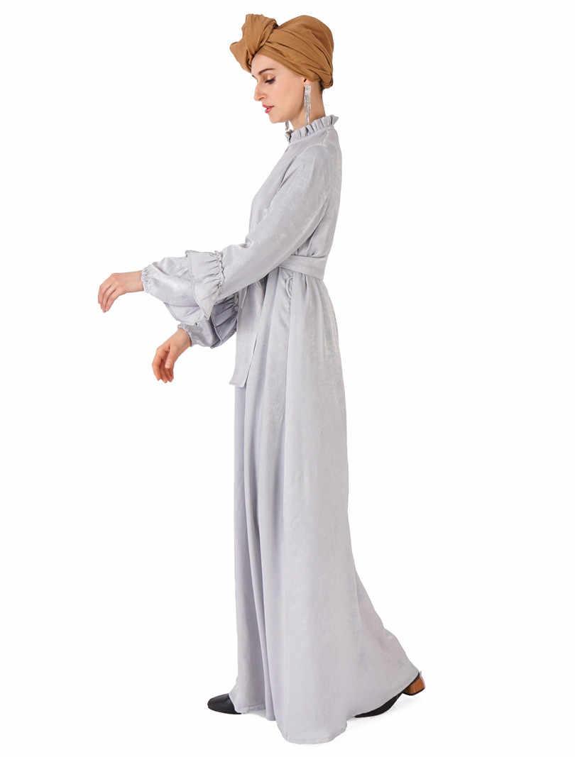 エレガントなイスラム教徒ベルベットアバヤマキシドレスグログランリボン全長ロングローブガウン着物 Jubah Eid ラマダンのカフタンイスラム服
