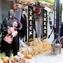 Halloween Hanging Sign Trick Or Treat Banner For Home Store Porch Front Door Display Decorations  x