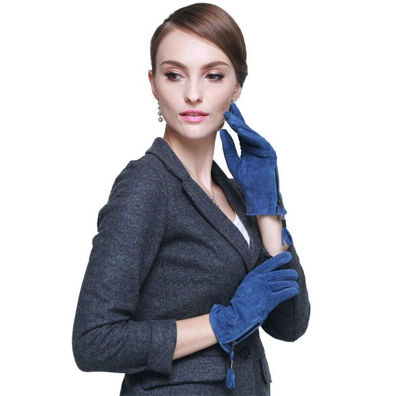 Luvas De Couro das mulheres Zíper Da Moda Tendência Elegante Luva de Couro de Porco Camurça Outono Inverno Senhora Luvas de Condução de Design Azul S M L