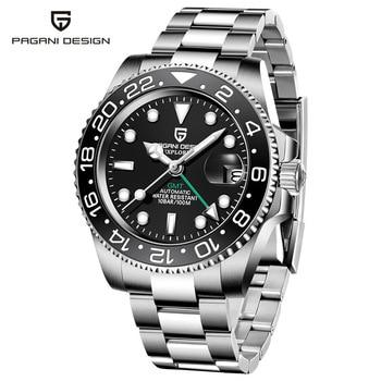 2020 New PAGANI DESIGN Luxury Men GMT Automatic Machinery Watch 40MM Ceramic bezel Jubilee Strap Sapphire 100M Waterproof Clock - Black-2