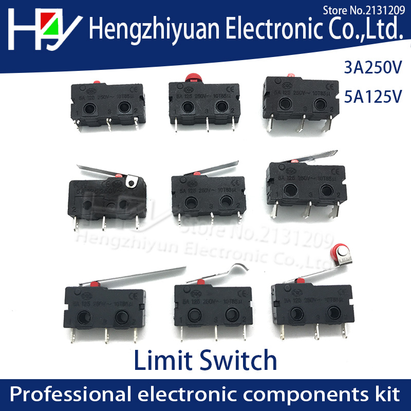 Hzy Mini Micro Switch Roller Lever Arm SPDT Snap Action LOT 3A 250V AC 5A 125V NC-NO-C With Pulley 3 Feet Stroke Limit Switch(China)