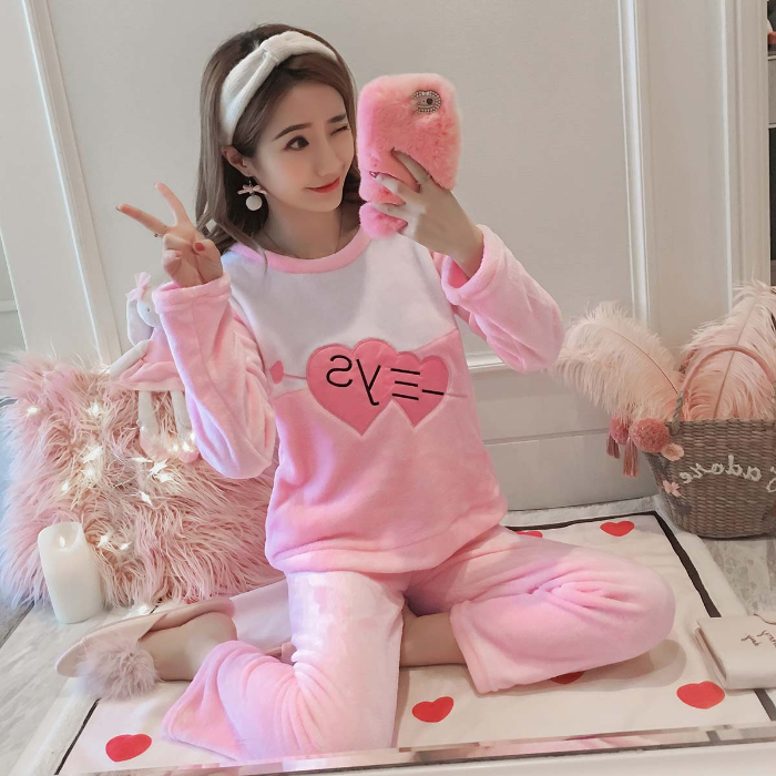 2010 New Flannel Pajamas For Women Winter Soft Warm Pyjamas For Girl Casual Comfortable Sleepwear Two Pieces Indoor Waer