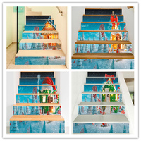 % Diy stair sticker candy christmas tree house stairs sticker mural home decoration supplies christmas vinyl pvc wall stickers