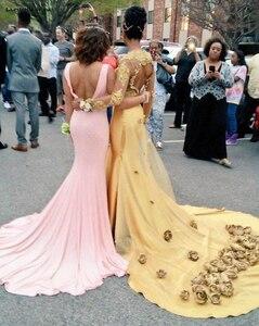Image 2 - Đầm Vestido Ba Lô Da Mới REN ĐÍNH HẠT 3D Hoa Hở Lưng Dài Tay Vàng Gợi Cảm Nàng Tiên Cá Promise Kéo Châu Phi Dạ Hội