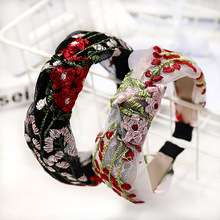 Vintage Lace with Embroidery Knot Headband For Women girls Knotted Bow Hairband Hair Accessories