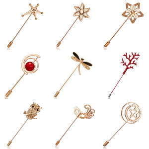 Women Ornament Needle Brooch Owl Dragonfly Star Flower Mask Openwork Circle Brooch Pin Coat Dress Ornament Jewelry Accessories
