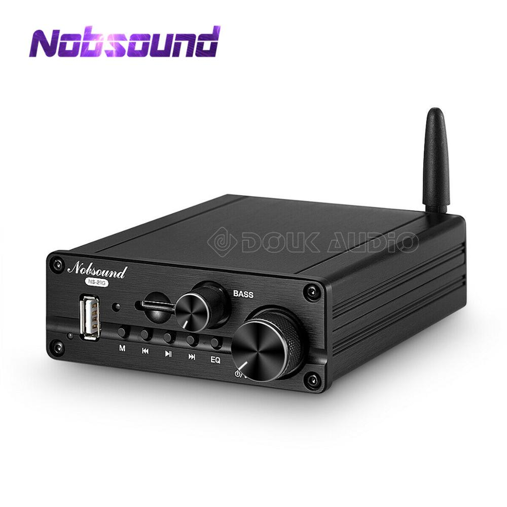 Nobsound Mini Bluetooth 5.0 Power Amplifier HiFi Stereo Audio Subwoofer Class D 2.1 Channel Amp USB/AUX Music Player