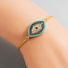Vintage Shiny CZ Crystal Evil Eye Charm Bracelet for Women Girl Bling Gold Colorcopper Alloy Personality Jewelry