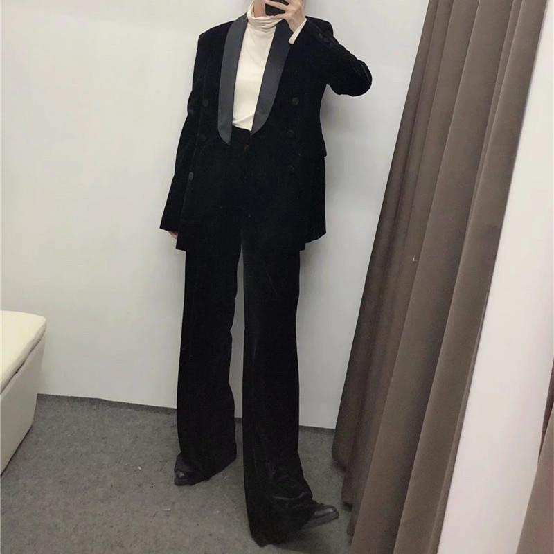 Vintage Notched Blazer Straight Pants Two Piece Suit Turn-Down Collar Women Simple Blazer Velvet Set Solid Outfits Work Set