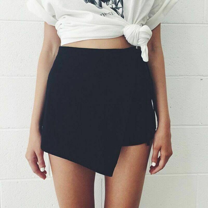 New Trendy Solid Fashion Womens Ladies Summer Casual Beach Hot Shorts Mini Summer White Black Skirt Women Clothes