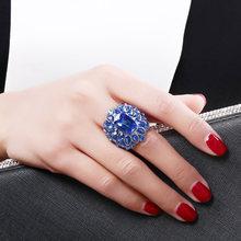 Очень большое кольцо с синими кристаллами модные ювелирные украшения