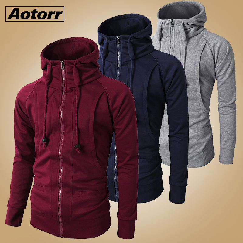 Men Casual Zipper  Long Sleeves Hoodies Coat Hooded Workout Jacket Sweatshirt