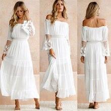 Weibliche Liebsten Langarm Sommerkleid frauen Weiß Strand Kleid Sommer Lose Sexy Off Schulter Spitze Boho Maxi Kleid Feme