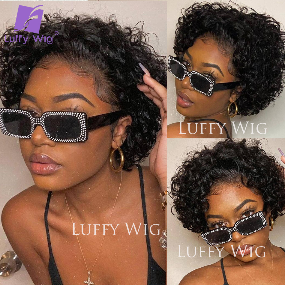 Short Pixie Curly Wigs 4x4 Lace Closure Wig   13x4 Lace Frontal  Wigs Glueless  LUFFY 3