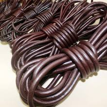 1 5-8 mm Leather Hide Cord String Strap Thick Genuine Leather Strip Leather Rope Genuine Cowhide Leather Strip Round dark Brown cheap Grain Cow Skin Tanned Furniture Shoes