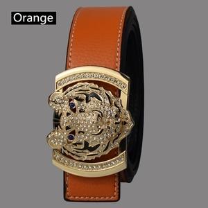 Image 3 - 2020 Luxury Brand Belts for Men Fashion Shiny Diamond Domineering Tiger Head Buckle Waist Shaper Leather Belts