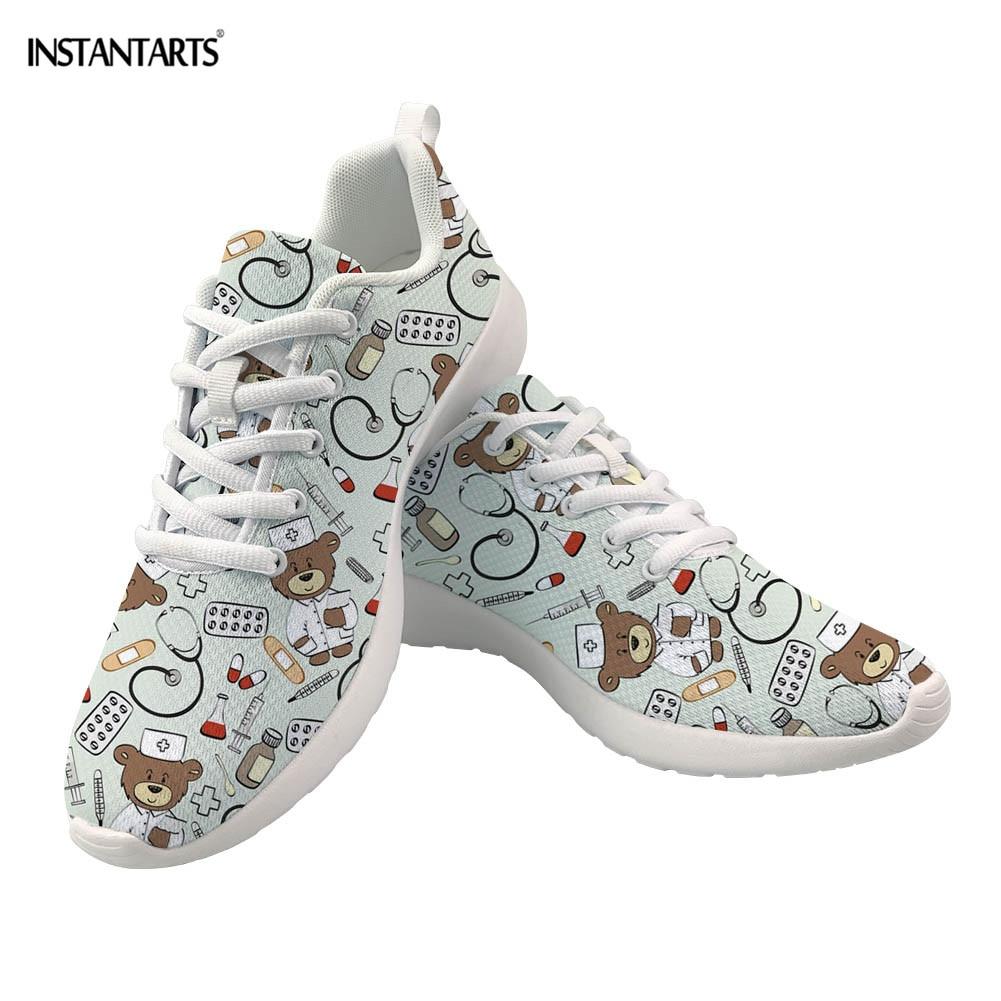 Buy INSTANTARTS Nurse Bear Printing Women Sneakers Medical Doctor Tenis Feminino Casual Breathable Air Mesh Running Shoes for Ladies