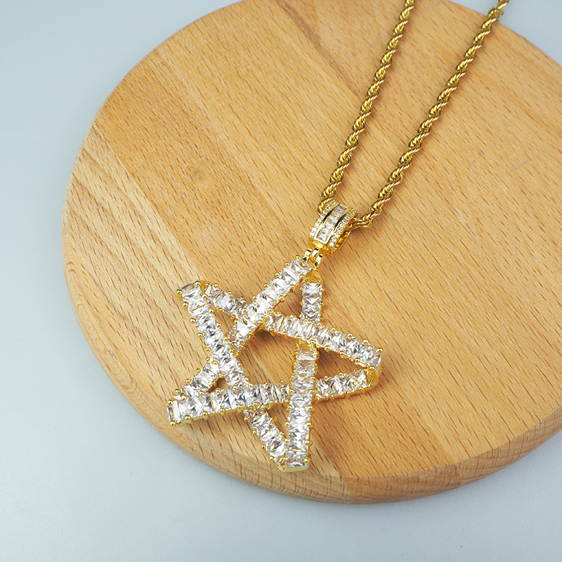 Five-pointed Star Cross Line Modeling Two-color Glittering Stone Mosaic Pendant Hip Hop Trend Single Necklace 2020 Gift