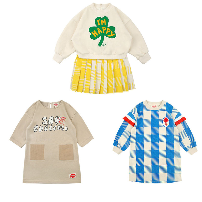 2020 New Arrivals Korean Toddler Girl Casual Dress Lovely Ice Cream Plaid Dresses Baby Children Brand Clothes Long Sleeve Dress