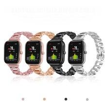 Para amazfit gts banda de aço inoxidável bling strass pulseira de metal luxo substituição relógio cinta