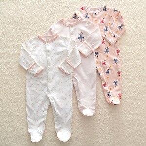 Image 4 - Pelele de 3 uds para bebé recién nacido, mono de 0 a 12m, Pelele de algodón de dibujos animados, conjunto de pijamas, ropa para bebé recién nacido, pelele para niña