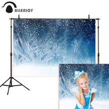 Allenjoy backdrop photo background Frozen snowflake winter Ice flower abstract Christmas photophone photography photocall