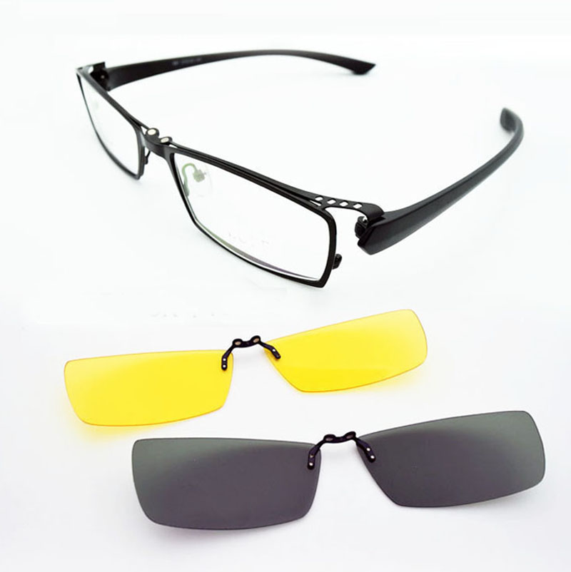 2PCS Polarized Clip on Sunglasses Night Vision Glasses and Optical Eyeglasses Frame Men Glasses Frames Prescription