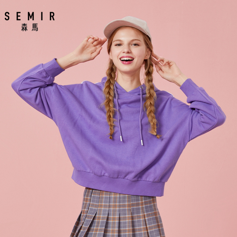 Semir Hoodies Women Spring And Autumn Thin Loose 2019 Korean Young Fashion Hooded Long Sleeve Ribbon Hit Color Tide Sweatershirt