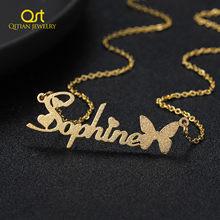 Personalizado fosco nome colar personalizado nome da borboleta colar de aço inoxidável placa de identificação chocker para presentes femininos jóias