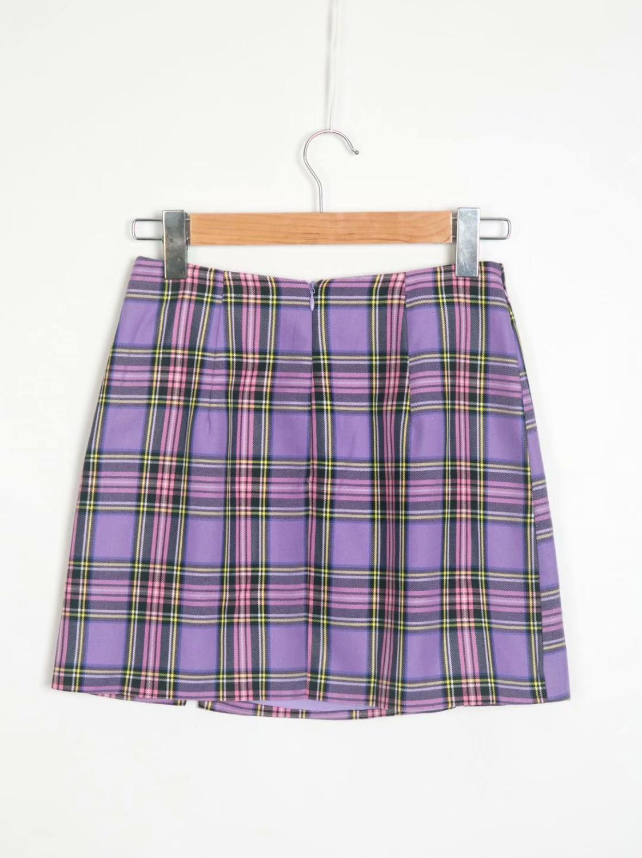 Vintage Plaid Mini Skirt Women Red Elegant Midi Fashion Wrap Skirts Elegant Holiday Boho Tunic Skirts