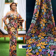 2019 African Lace Fabric French Tulle lace with Flower&Leaf Style Designer Embroidery Hot-fix Nigerian Wedding dress for Women