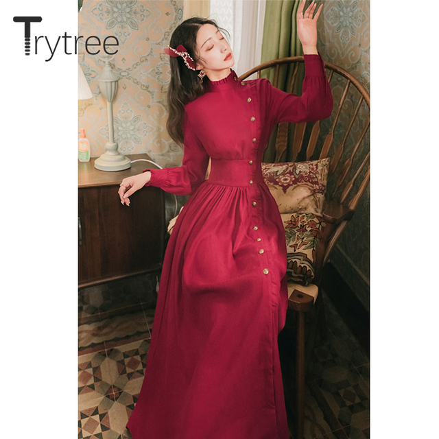 Trytree 2020 Autumn Winter Casual Women's Dress Corduroy Stand Collar Side Buttons Puff Sleeve Ankle-Length A-line Vintage Dress 5