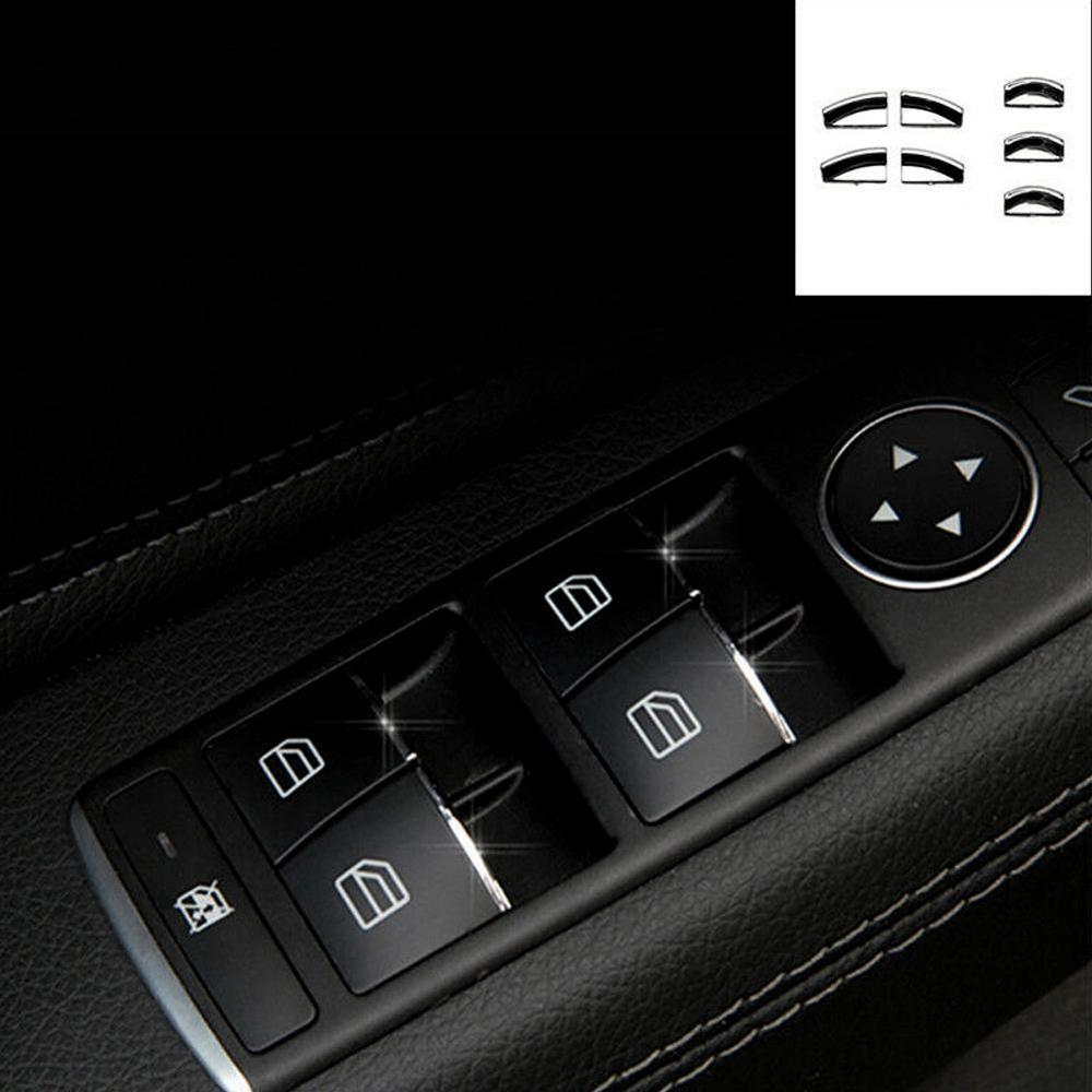 For <font><b>Mercedes</b></font> Benz CLA GLA Class <font><b>W176</b></font> W246 C117 X156 Door Lift Button Stickers ABS Chrome Trim Cover Accessories Car Styling image
