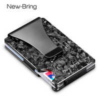 NewBring Slim Abstract Texture Carbon Fiber Card Holder Credit Card ID RFID Blocking Wallet Front Pocket Gift EDC Minimalist