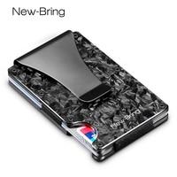 NewBring Slim Abstract Texture Carbon Fiber Card Holder Credit Card ID RFID Blocking Wallet Front Pocket Gift EDC Minimalist