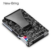 Newbring slim abstrato textura suporte de cartão de fibra de carbono, carteira bloqueia rfid, bolso frontal, presente edc minimalista