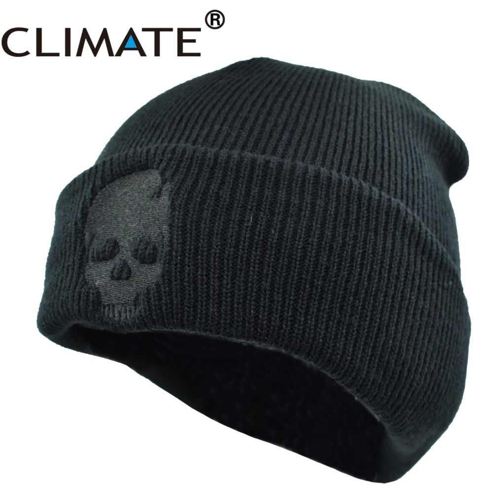 IKLIM Iskelet Kasketleri Kasketleri Kış Şapka Erkekler için Sıcak Örme Şapka Kasketleri Kafatasları Serin Siyah Hip Hop Sıcak Örme Şapka erkekler için