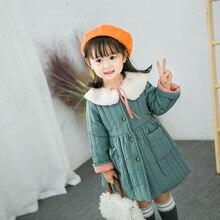 2019 di nuovo modo della ragazza di inverno del bambino del cappotto delle ragazze bambini collo di pelliccia di cotone imbottito caldo cappotti principessa vestiti dei bambini giacche