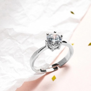 Image 2 - Zobei Kleine Lab Diamond Opening Ring Echt 925 Sterling Zilveren Engagement Ring Crystal Solitaire Trouwringen Voor Vrouwen